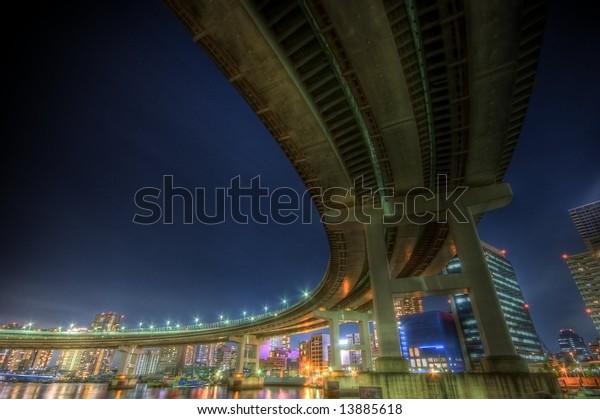 Night landscape at rainbow bridge in Tokyo