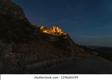 Night landscape from the Risco near Sierra de Fuentes. Extremadura. Spain.