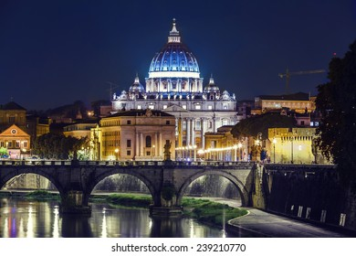Night landscape of Rome, Angels bridge and St. Peter s basilica near river Tiber