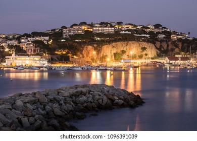 Night landscape of Sant Feliu de Guixols bay in Costa Brava, Spain.