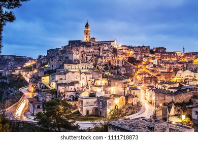 night landscape of the Sassi of Matera, The Sassi of matera by night, ancient town, matera landscape by night, night lights