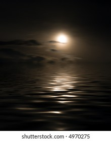 Night landscape at the sea. The moon is reflected in dark water. A photomontage.