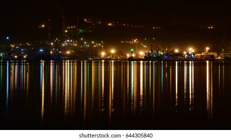 Night landscape of sea port