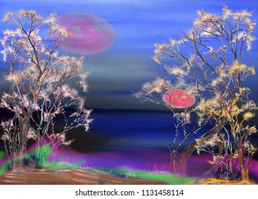 Night landscape with two trees and red moon, oil painting artwork