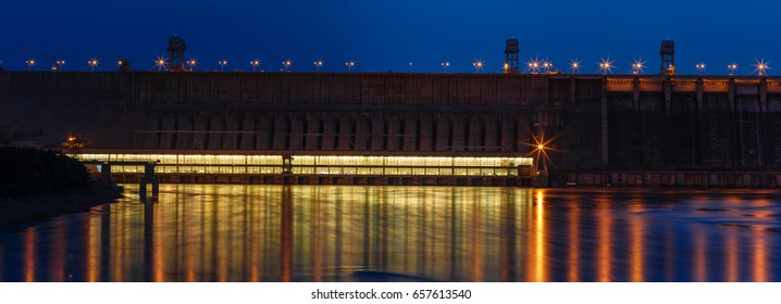 Night landscape, view of a dam of hydroelectric power station on the Yenisei River, Siberia, Russia, Krasnoyarsk