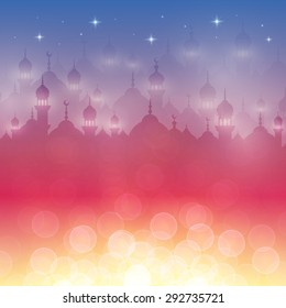 Night landscape wallpaper with mosques and lights, stars. Background for holy month of muslim community Ramadan Kareem celebration