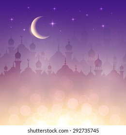 Night landscape wallpaper with mosques and lights, moon, stars. Background for holy month of muslim community Ramadan Kareem celebration
