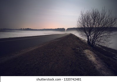 Night landscape of winter road.