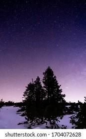 night landscape wtih star sky. Czech mountains