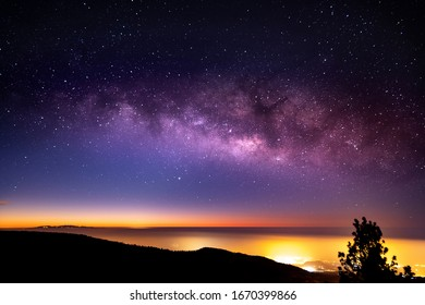 Night lanscape with milky way