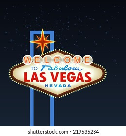 Night Las Vegas Sign with stars. illustration