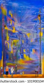 Night life in abstract town