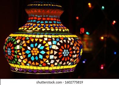 Night Life. Colorful Lanterns. Beautiful Oriental Motive. Room India Decoration. Darkness to light.