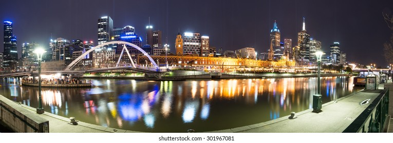 Night life of Melbourne with panorama view. This town is one of the most liveable city in the world in Victoria state of Australia.