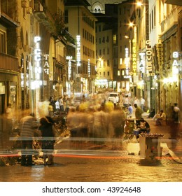 night life of street of  Florence, Italy