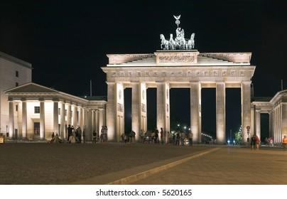 Night light in Branderburg gate in Berlin center.