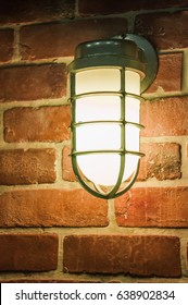Night light by old brick wall lamp