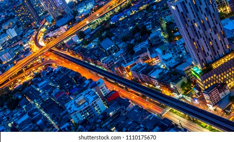 Night light cityscape view with modern building and expressway in Bangkok, Thailand