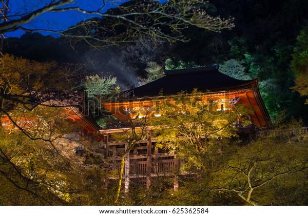 Night light up at Kiyomizu-dera temple, Kyoto, Japan.