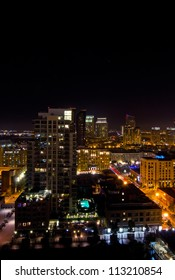 Night light scene of tall buildings in downtown San Diego, California