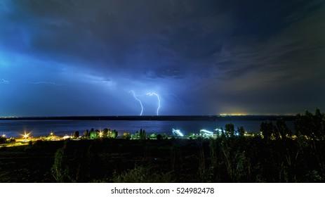 Night lightning over the river