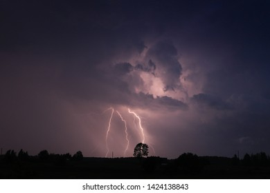 Night lightning and thunderstorms on the field
