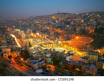 Night lights of Amman - capital of Jordan