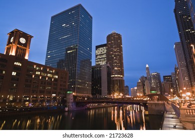 Night and Lights by Chicago River