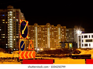 Night Lights City District Road Construction