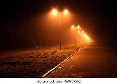 night lights in city park