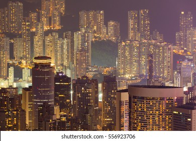 Night lights, Hong Kong city apartment on the high hill, cityscape background
