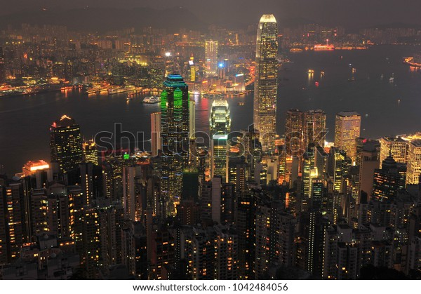 Night Lights Landscape of Hong Kong City