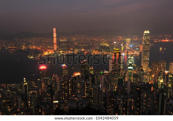 Night Lights Landscape of Hong Kong City