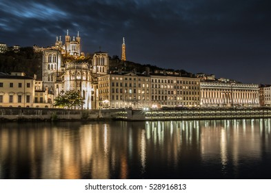 Night lights of Lyon in France