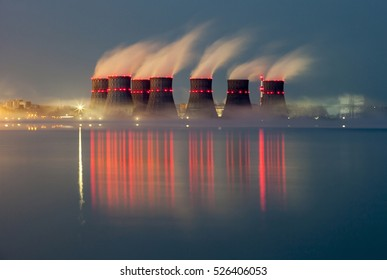 night lights of nuclear power station