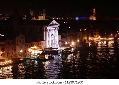 Night lights on the waterfront quai of the Grand Canal in Venice, Italy