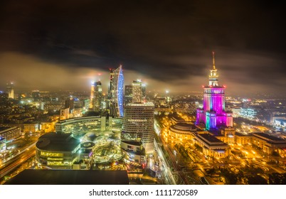 Night lights in Warsaw Poland