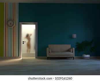 night living room interior, 3d illustration