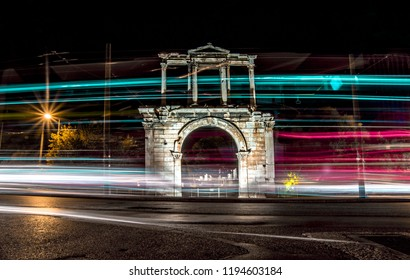 night long exposure at the city of athens with the temple of zeus and the greek parliament