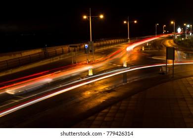 night long exposure of passing cars