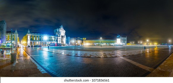 Night longexposure sityscape panoramic view of Commerce Square, Praca do Comercio or Terreiro do Paco, Triumphal Rua Augusta Arch, Statue of Dom Jose in evening illumination, Lisbon, Portugal.
