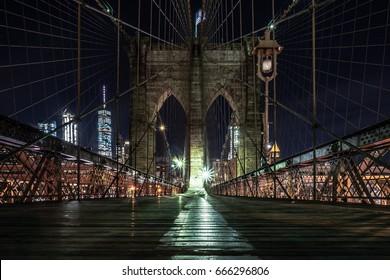 Night Low Angle View of the Brooklyn Bridge