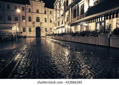 night  Lviv, Lvov,  Shevska street., historical center, west Ukraine, east Europe travel