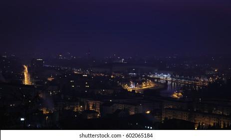 Night magic light in the city