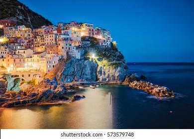 Night at Manarola Village in Cinque Terre, Italy.