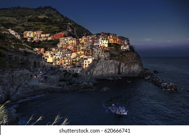 Night in Manarola,Cinque Terre.Italy