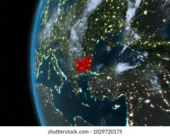 Night map of Bulgaria as seen from space on planet Earth. 3D illustration. Elements of this image furnished by NASA.