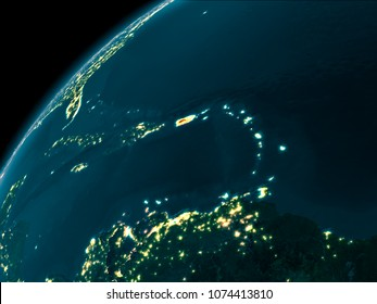 Night map of Puerto Rico as seen from space on planet Earth. 3D illustration. Elements of this image furnished by NASA.