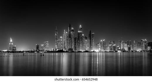 Night marina skyline