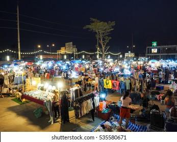 night market, Bangkok Thailand. Crowded people go shopping , 30 MAY 2016